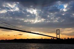 De brug van Bosporus in Istanboel Stock Foto
