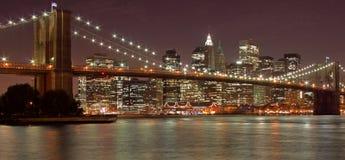 De Brug van Brooklyn & de Stad van New York stock fotografie