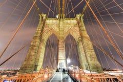 De Brug van Brooklyn bij Nacht Royalty-vrije Stock Foto