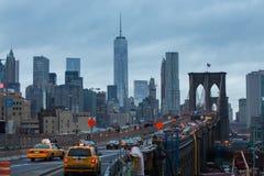 De brug van Brooklyn bij schemer, de Stad van New York royalty-vrije stock foto