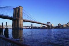 De Brug van Brooklyn bij zonsondergang stock afbeelding
