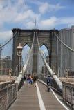 De Brug van Brooklyn - de Horizon van de Stad van New York Royalty-vrije Stock Foto