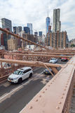 De Brug van Brooklyn in de Stad van New York Stock Afbeelding