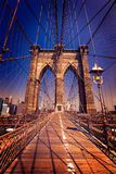 De Brug van Brooklyn en de Stad de V.S. van Manhattan New York Stock Afbeeldingen