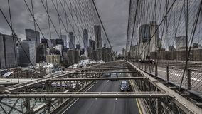 De Brug van Brooklyn en de horizon van Manhattan royalty-vrije stock fotografie