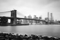 De Brug van Brooklyn en Lower Manhattan, New York Stock Fotografie