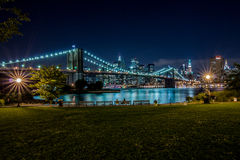 De Brug van Brooklyn en Manhattan, New York Stock Foto