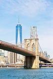 De Brug van Brooklyn en Manhattan Van de binnenstad Royalty-vrije Stock Afbeeldingen