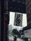 De Brug van Brooklyn en de mening van Manhattan royalty-vrije stock afbeelding