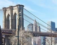 De Brug van Brooklyn met de lagere horizon van Manhattan Royalty-vrije Stock Foto