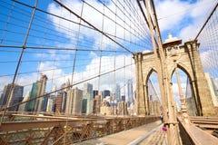 De Brug van Brooklyn in New York stock foto's