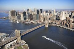 De Brug van Brooklyn, New York. Stock Foto