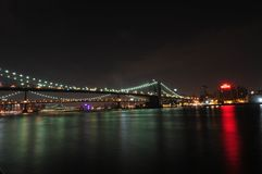 De Brug van Brooklyn - de Stad van New York Stock Foto