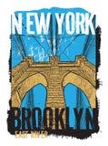 De Brug van Brooklyn, de Stad van New York royalty-vrije illustratie
