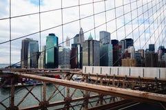 De Brug van Brooklyn van de Stad van New York Stock Foto
