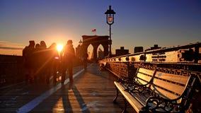 De Brug van Brooklyn van de Stad van New York in Manhattan stock foto