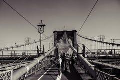 De Brug van Brooklyn in Zwart & Wit Stock Foto