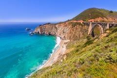De brug van Californië Bixby in de Grote Provincie van Sur Monterey in Route 1 Stock Afbeelding