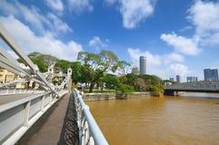 De Brug van Cavanagh over de Rivier van Singapore stock foto
