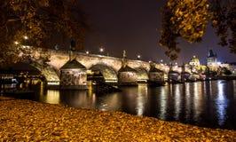 De brug van Charles bij nacht Stock Fotografie
