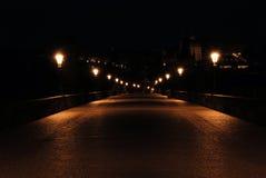 De brug van Charles in diepe nacht Royalty-vrije Stock Foto