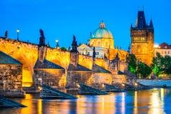 De brug van Charles, Praag, Tsjechische republiek Stock Foto's