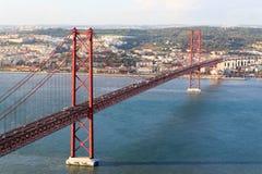 de brug van 25 DE abril in Lissabon Royalty-vrije Stock Afbeelding
