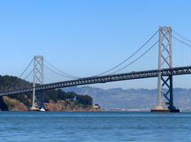 De brug van de Baai van San Francisco-Oakland Stock Afbeeldingen