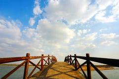De brug van de boog onder de wolken Stock Fotografie