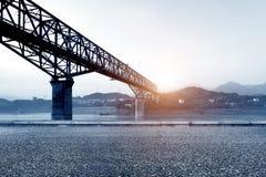 De Brug van de de Rivierspoorweg van China Yangtze stock afbeelding