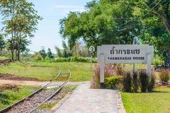 De brug van de doodsspoorweg over Kwai Noi River bij Krasae-hol Royalty-vrije Stock Afbeelding
