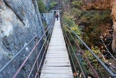 De brug van de kabel over een canion in Cahorros Royalty-vrije Stock Foto