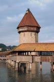 De Brug van de kapel in Luzerne Stock Foto's
