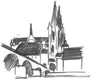 De brug van de kathedraal en van de steen stock illustratie