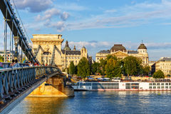De brug van de ketting, Boedapest, Hongarije Stock Afbeelding