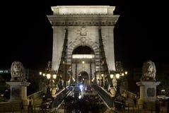 De brug van de ketting in Boedapest, vooraanzicht Stock Afbeelding