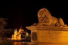 De Brug van de ketting en het Parlement in Boedapest Stock Afbeeldingen