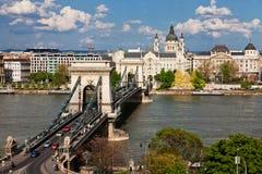 De Brug van de ketting over de Donau - Boedapest Stock Foto