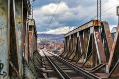De brug van de metaalspoorweg Royalty-vrije Stock Afbeeldingen