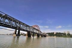 De brug van de spoorweg in Nieuw Westminster Royalty-vrije Stock Fotografie
