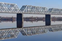 De Brug van de spoorweg over de rivier Royalty-vrije Stock Afbeelding