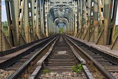 De brug van de spoorweg over de rivier olt, Roemenië Stock Foto