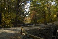 De brug van de steen over kleine rivier Stock Foto
