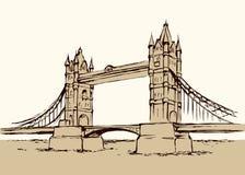 De Brug van de toren, Londen, het UK Hand getrokken vectorillustratie Royalty-vrije Stock Fotografie