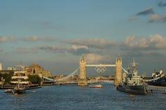 De Brug van de toren, Londen tijdens 2012 Olympics Royalty-vrije Stock Foto's