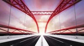 De brug van de twee richtingsweg in motieonduidelijk beeld Royalty-vrije Stock Fotografie