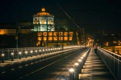 De Brug van Dom Luiz in Porto bij nacht Stock Foto