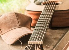 De brug van een akoestische gitaar met een doek GLB royalty-vrije stock fotografie