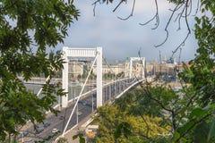 De Brug van Elisabeth in Boedapest, Hongarije De mooie bruggen van Boedapest Beste Brug van de Brug van Boedapest over de Donau Stock Foto's