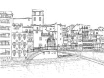 De Brug van Gomez in Girona Stock Illustratie